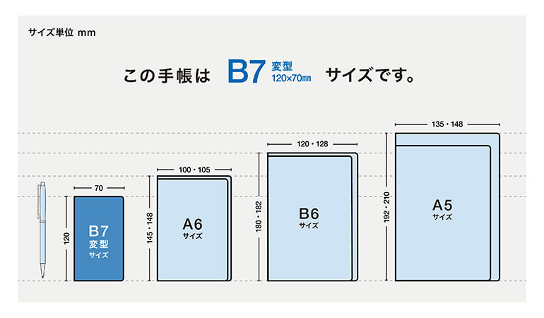 この手帳はB7変型サイズです