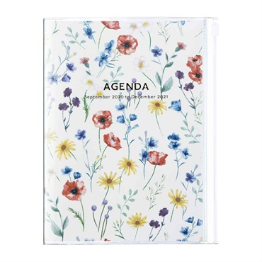 2021 Agenda / Diary / Weekly Vertical Planner / A5size,Flower Pattern (HV)