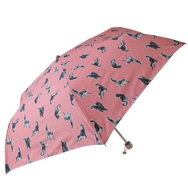 UVカット機能付き 晴雨兼用 折りたたみ傘 (水墨画ネコ/ピンク)/ポール&ジョー アクセソワ