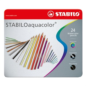 アクアカラー 24色セット 色鉛筆 2.8mm 水彩色鉛筆/STABILO(スタビロ)