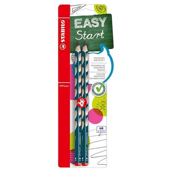 イージーグラフ・右利き用 2本パック 鉛筆 3.15mm HB/ペトロール/STABILO(スタビロ)