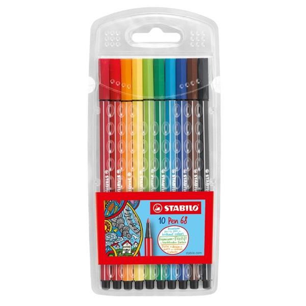 ペン 68 10色セット 水性ペン 水性インク 1mm フェルトチップ ベンチレーションキャップ式/STABILO(スタビロ)