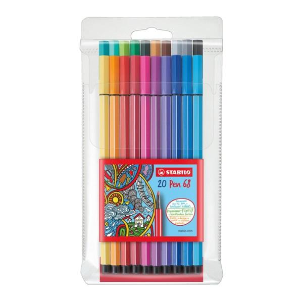 ペン 68 20色セット 水性ペン 水性インク 1mm フェルトチップ ベンチレーションキャップ式/STABILO(スタビロ)