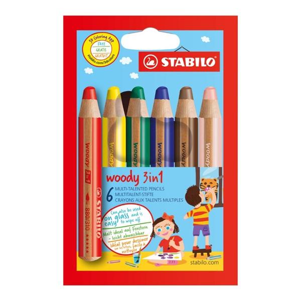 ウッディ 6色セット 色鉛筆 10mm マルチ色鉛筆(色鉛筆・水彩色鉛筆・クレヨンノ3機能)/STABILO(スタビロ)