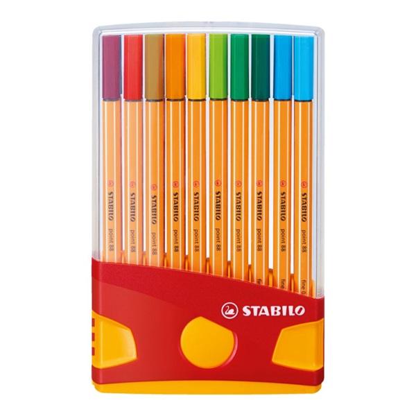 ポイント88 カラーパレード 水性ペン 水性インク 0.4mm 長寿命金属保護チップ ベンチレーションキャップ式/STABILO(スタビロ)