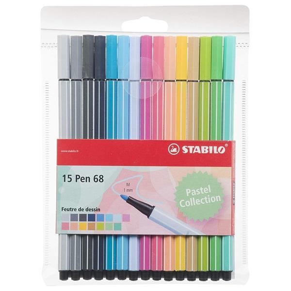ペン 68 フランス限定 15色セット 水性ペン 水性インク 1mm フェルトチップ ベンチレーションキャップ式/STABILO(スタビロ)